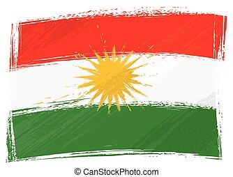kurdistan, grunge, bandeira