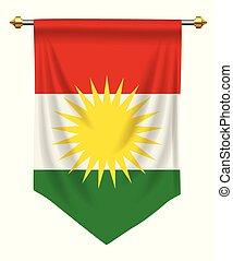 Kurdistan Pennant - Kurdistan flag or pennant isolated on...