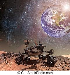 kuriositet, vandrare, utforskande, den, yta, av, mars.