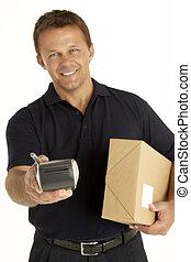 kurir, hålla ett paket, och, elektronisk, skrivplatta