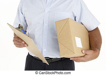 kurir, hålla ett paket, och, skrivplatta