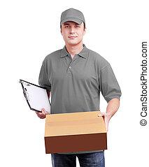 kurir, in, grå, hålla en låda, isolerat, vita
