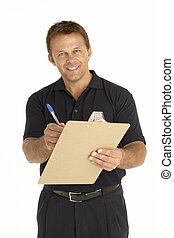 kurir, skrift, på, a, skrivplatta