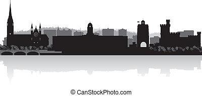 kurk, skyline, vector, stad, silhouette