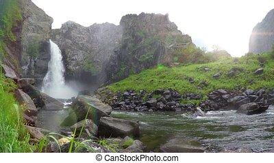 Kurkure waterfall. Altai Mountains. Siberia Russia 4K