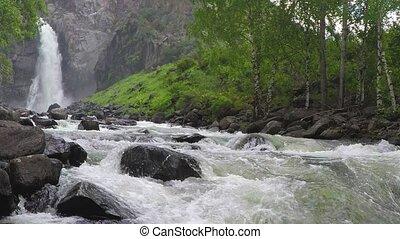 Kurkure waterfall. Slow motion.