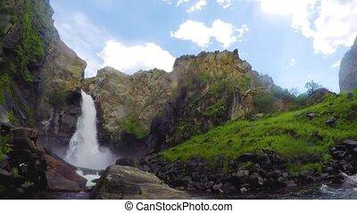 Kurkure waterfall. Time lapse.