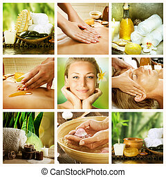 kurort, collage., dayspa, begrepp