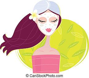 kurort, flicka, maskera, regeneration, ansiktsbehandling