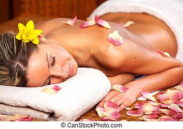 kurort, kvinna, ung, massera, salon.
