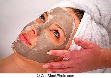 kurort, lera, kvinna, maskera, ansikte