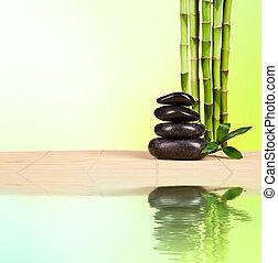 kurort, stilleben, med, lava, stenar, och, bambu, skott, med, gratis, utrymme, för, text