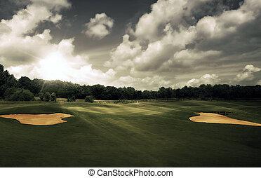kurs, abend, golfen