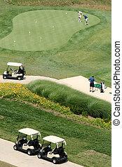 kurs, luftaufnahmen, golfen, ansicht