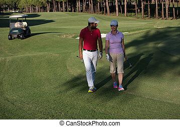kurs, paar, golfen, gehen