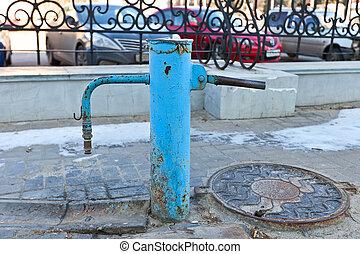 kursk, 古い, water-pump, ロシア, 手