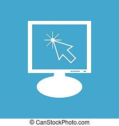 kursor, dataskærm, ikon pil