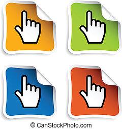 kursor, glatt, vektor, stickers, hånd