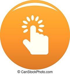 kursor, pomarańcza, wektor, ręka, ikona
