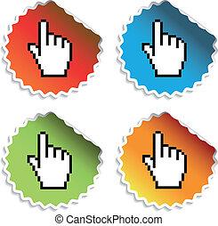 kursor, vektor, stickers, hånd