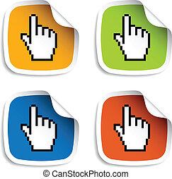 kursor, vektor, stickers, pixel, hånd