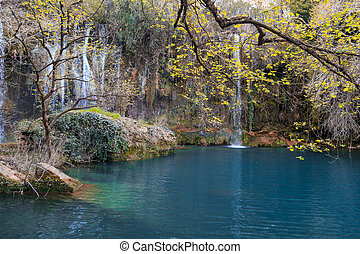 Kursunlu Waterfall Scene - View of Kursunlu Waterfall in...