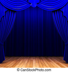 kurtyna, aksamit, błękitny, otwarcie, scena