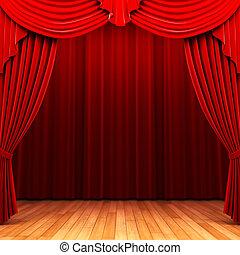 kurtyna, aksamit, otwarcie, scena, czerwony