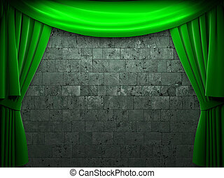 kurtyna, aksamit, otwarcie, zielony, scena