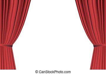 kurtyna, biały czerwony, otworzony, tło.