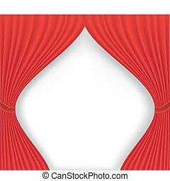 kurtyna, biały, teatr, czerwone tło