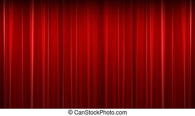 kurtyna, czerwony, aksamit, teatr