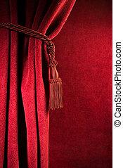 kurtyna, czerwony, teatr