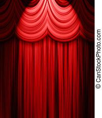 kurtyna, czerwony, teatr, strumienica