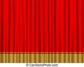 kurtyna, czerwony, złoty
