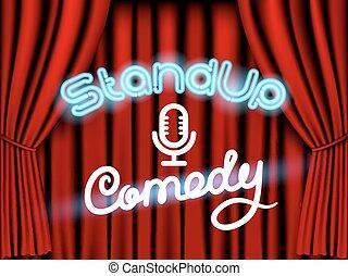 kurtyna, komedia, stać, czerwony, do góry