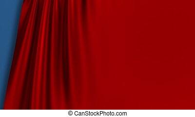 kurtyna, opening., screen., czerwony, błękitna zieleń