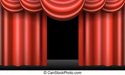 kurtyna, realistyczny, odizolowany, teatr, czerwony