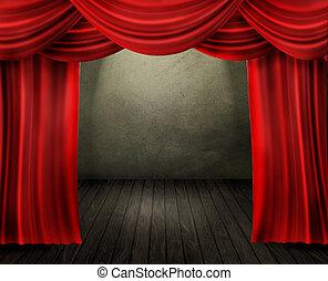 kurtyna, rusztowanie, czerwony, teatr