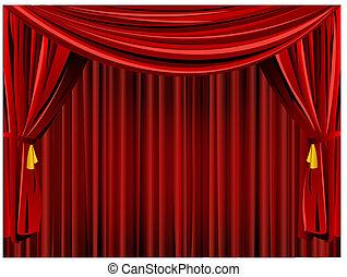 kurtyna, tło, teatr