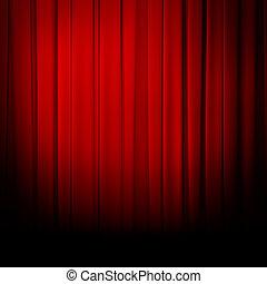 kurtyna, teatr, czerwony, strumienica