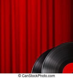 kurtyna, teatr, czerwony