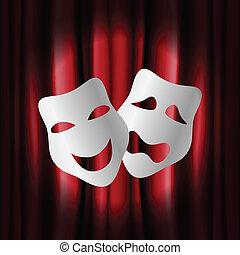 kurtyna, teatr, maski, czerwony