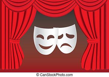 kurtyna, teatr, maski