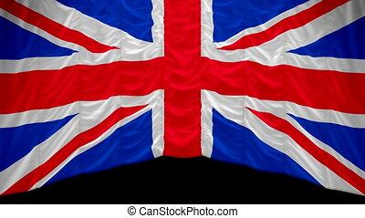 kurtyna, wielki, bandera, britain, do góry