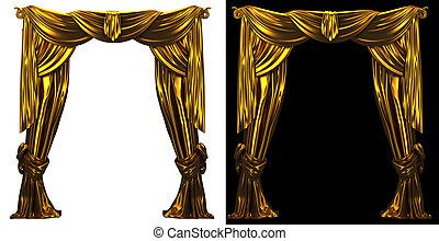kurtyna, złoty, tło