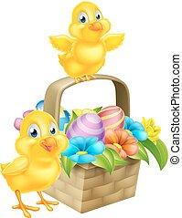 kurv, chicks, åg, påske, cartoon