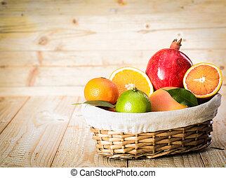 kurv, i, lækker, sorteret, frisk frugt