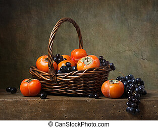 kurv, liv, endnu, persimmons, druer