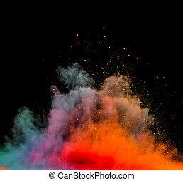 kurz, czarnoskóry, wybuch, barwne tło